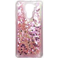 Kryt na mobil iWill Glitter Liquid Heart Case pro Xiaomi Redmi Note 9 Pink