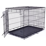 DOG FANTASY Folding Cage L Black 1 Door - 91.5 × 63.5 × 58.5cm