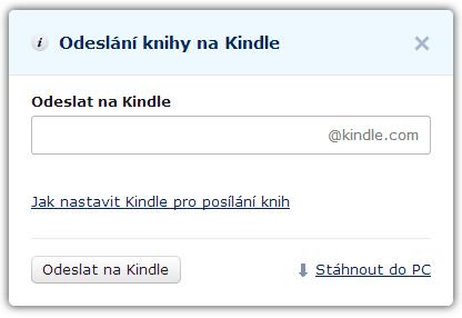 Dialogové okno pro odesílání knih na Kindle