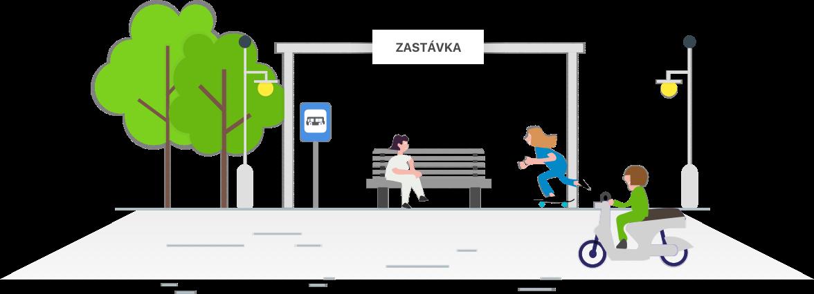 ilustrace autobusove zastavky