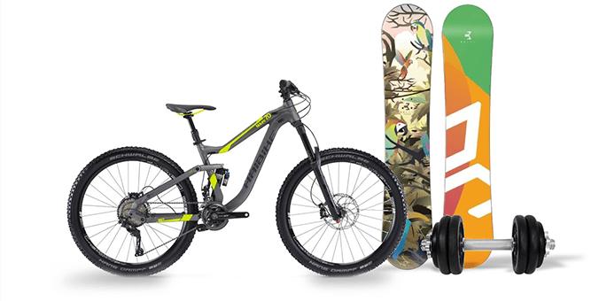 horské kolo, snowboard, činka