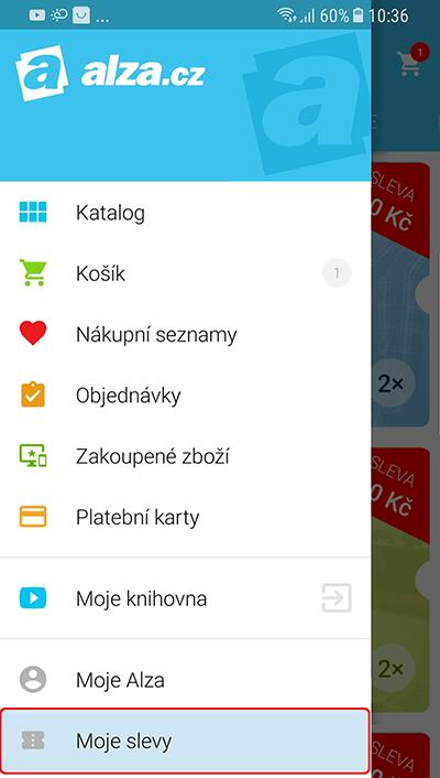 mobilní aplikace Alza.cz - menu - Moje slevy