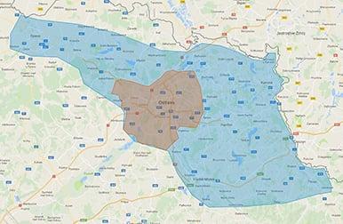 mapa - oblast poskytování služby Alza Expres