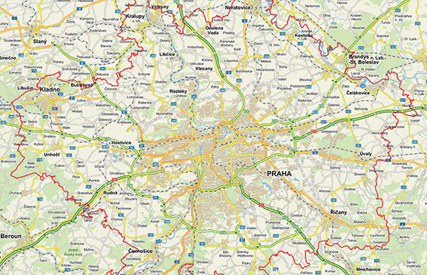mapa - oblast poskytování služby AlzaExpres