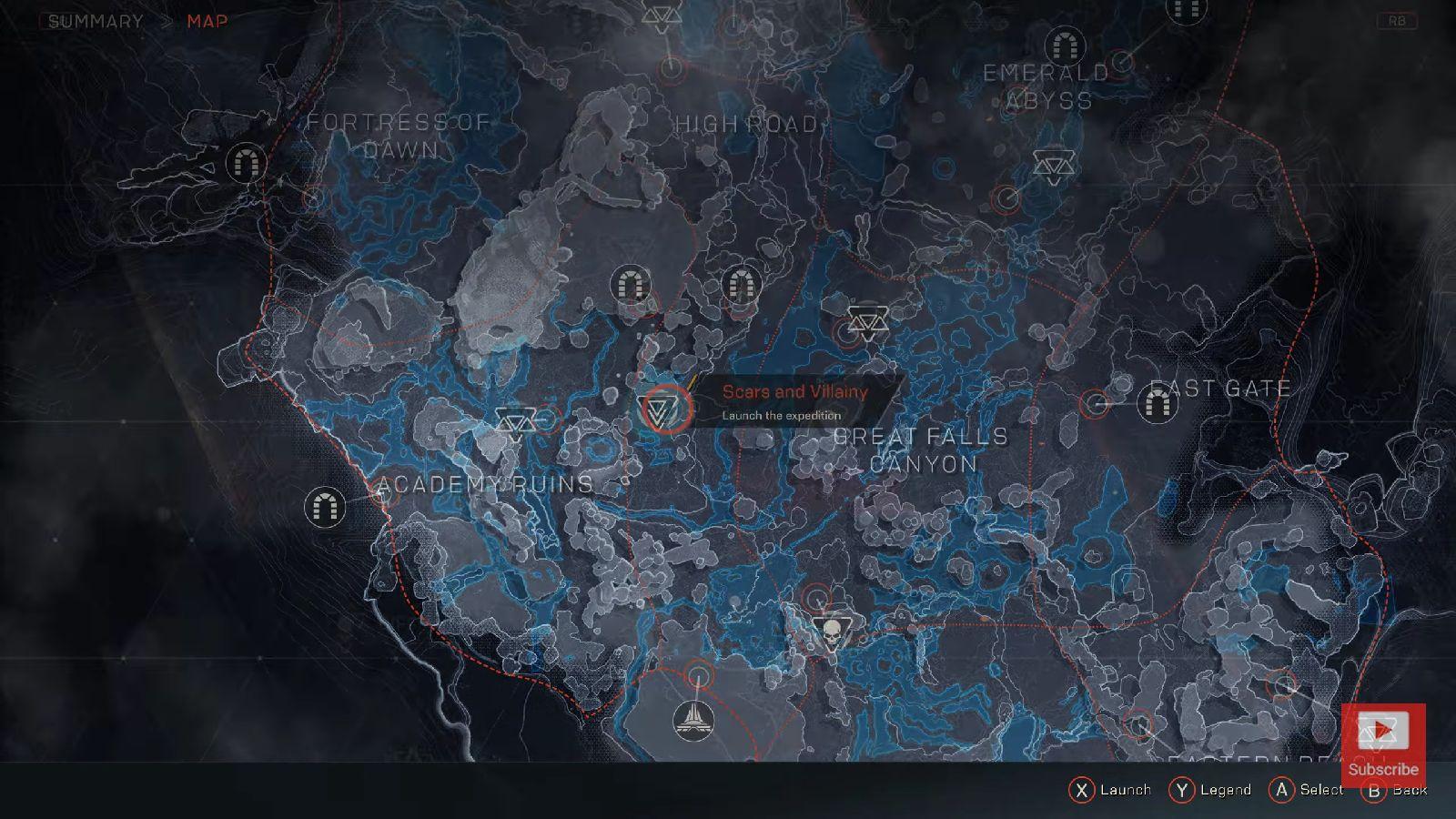 Anthem; screenshot: mapa