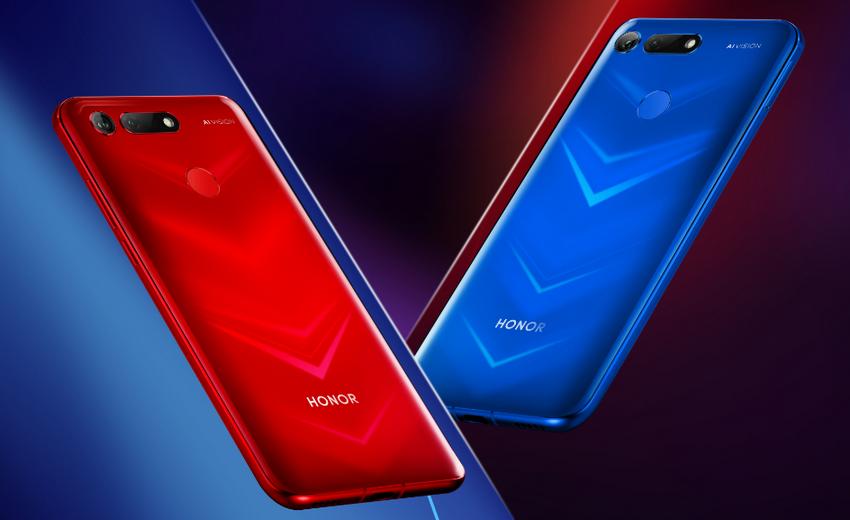 Honor View20, červený a modrý