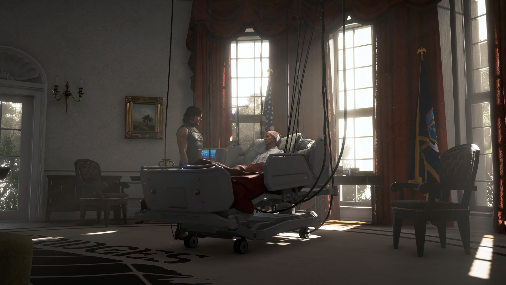 Death Stranding; screenshot: prezidentka
