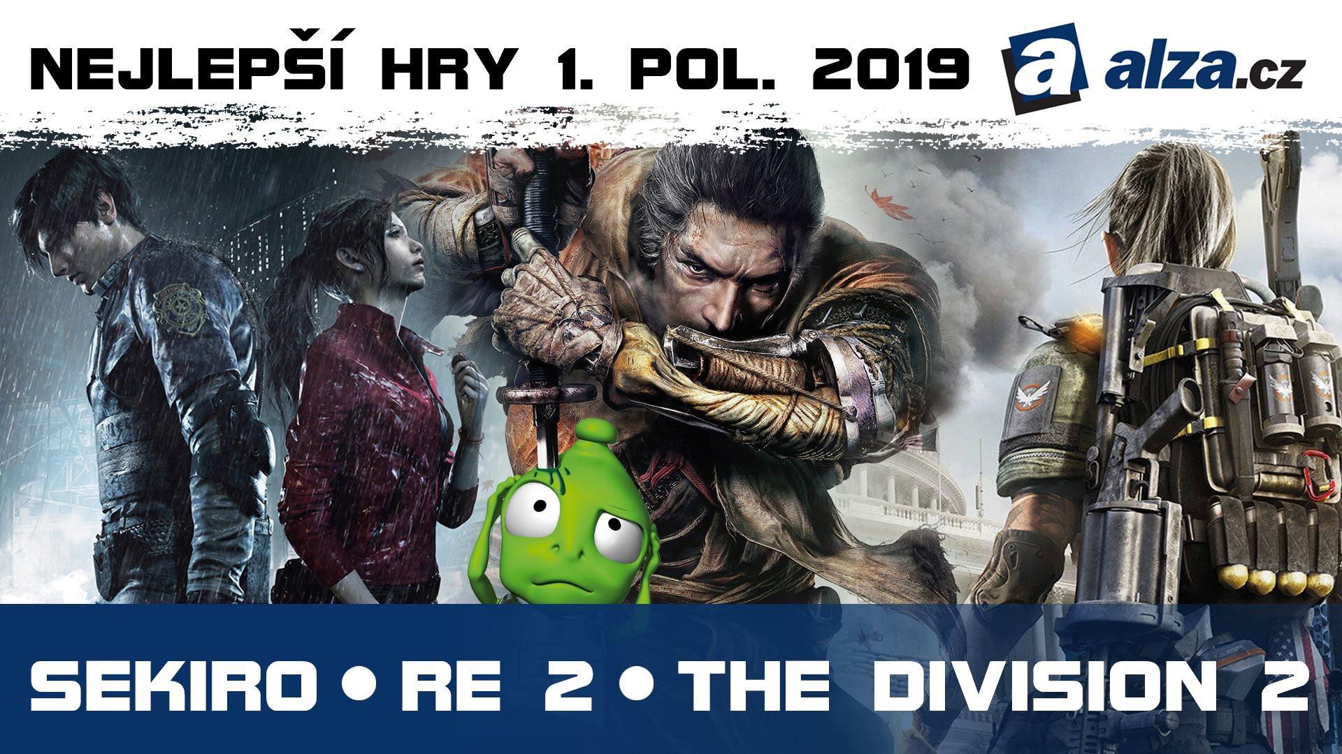 Nejlepší hry 1. pol. 2019; thumbnail: Sekiro, RE2, Division