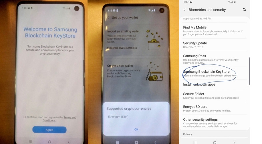 Samsung Galaxy S10, peněženka na kryptoměny