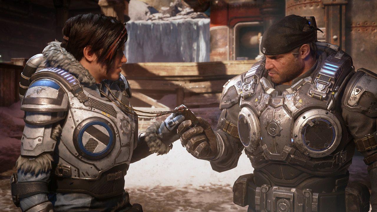 Gears 5, screenshot, kait, marcus fenix