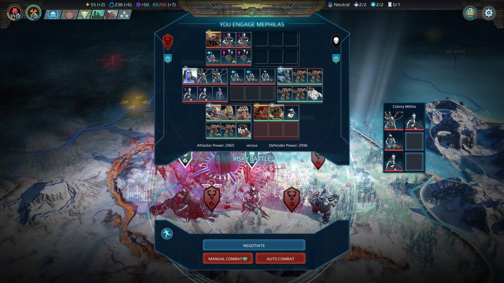 Age of Wonders: Planetfall; gameplay: bitva