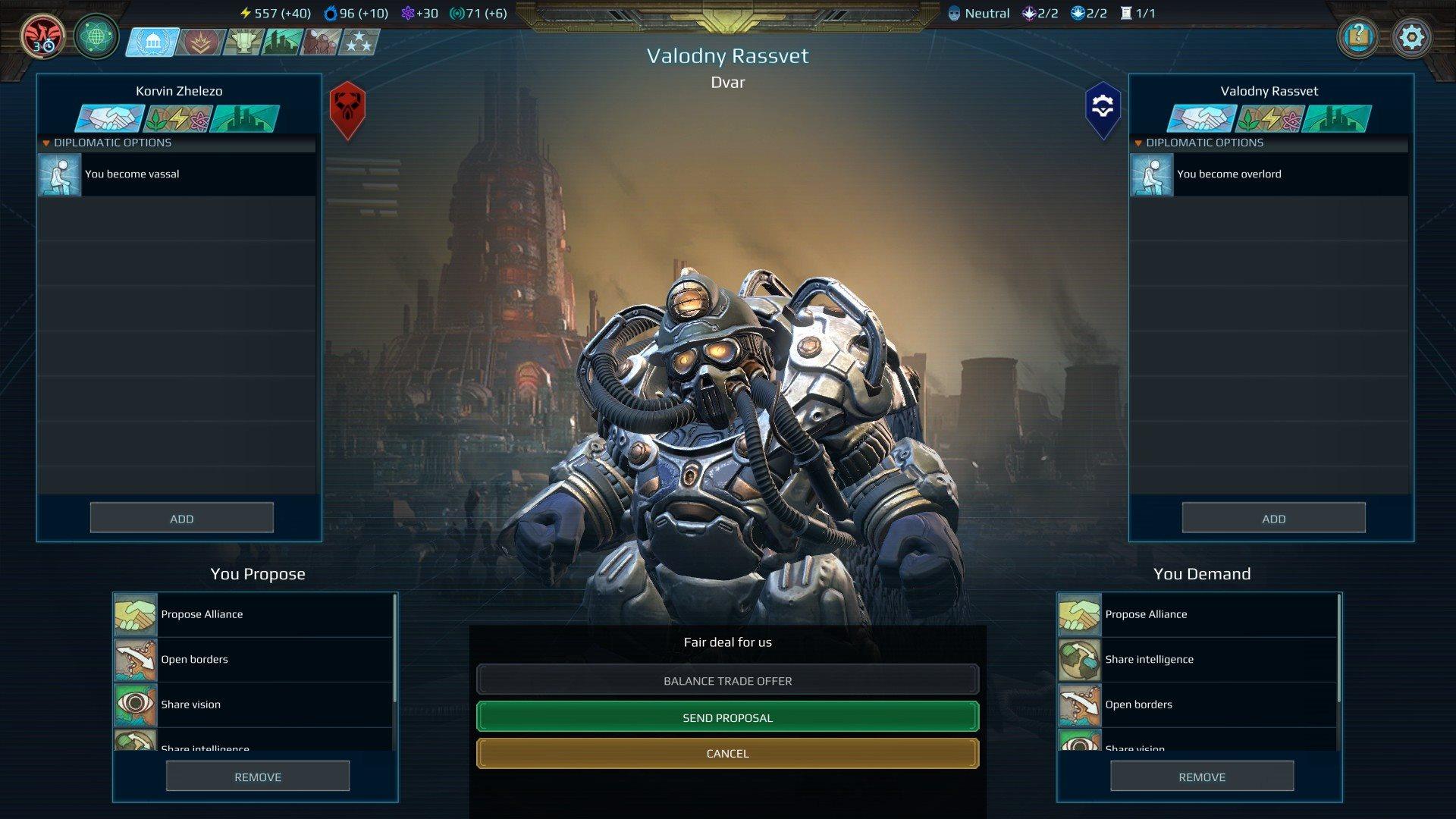 Age of Wonders: Planetfall; gameplay: diplomacie