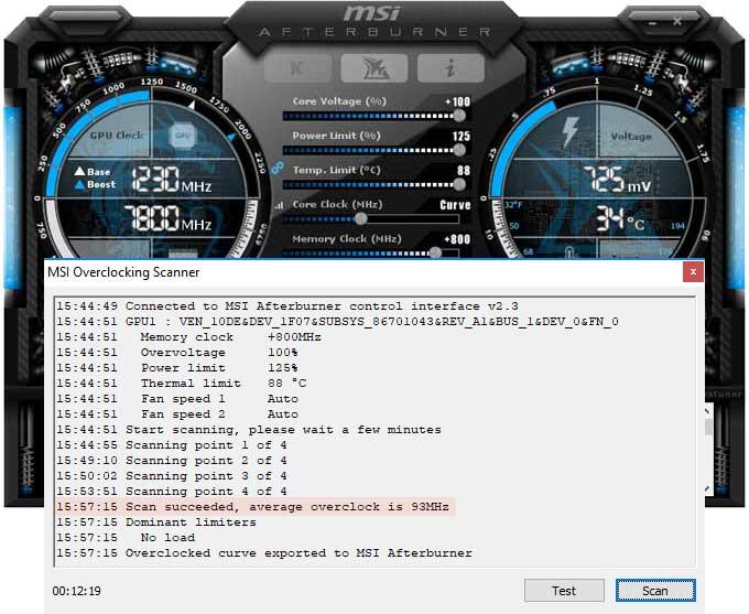 Přetaktování Asus Strix RTX 2070 O8G Gaming; Afterburner