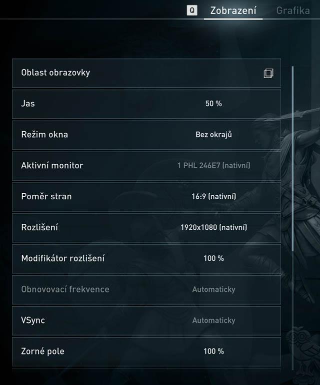 Assassin's Creed Odyssey - menu Zobrazení