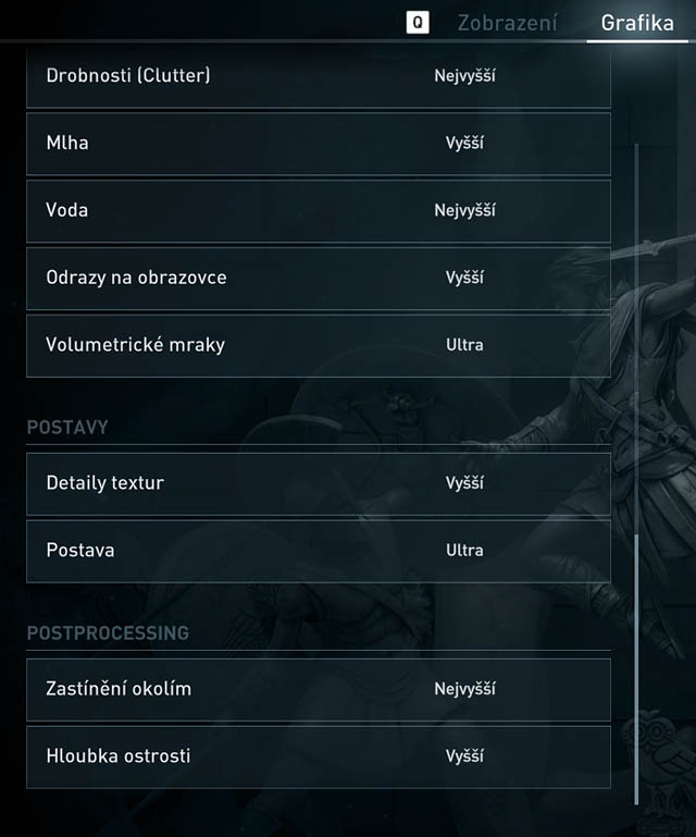 Assassin's Creed Odyssey - menu Grafika