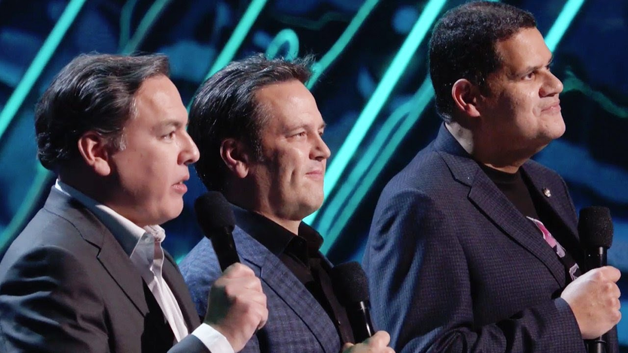 The Game Awards 2018, foto, Shawn Layden (PlayStation), Phil Spencer (Xbox) and Reggie Fils-Aimé (Nintendo),