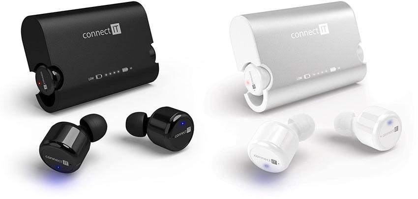 černá a bílá verze sluchátek Connect IT True Wireless hyper bass