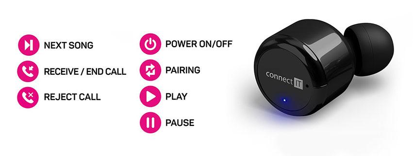 Connect IT True Wireless hyper-bass, multifunkční tlačítko