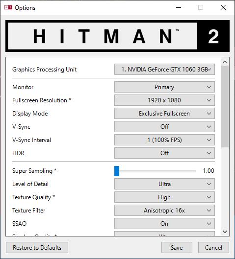 Hitman 2 nastavení testu 1