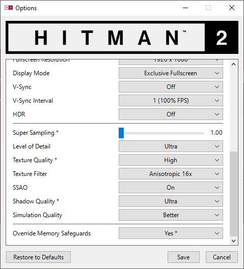 Hitman 2 nastavení 2