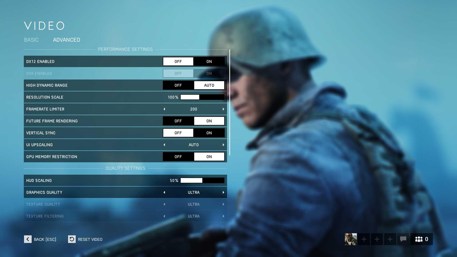 Battlefield 5; nastavení hry