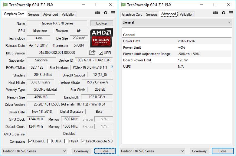Sapphire Pulse RX 570 ITX 4GD5 GPUZ