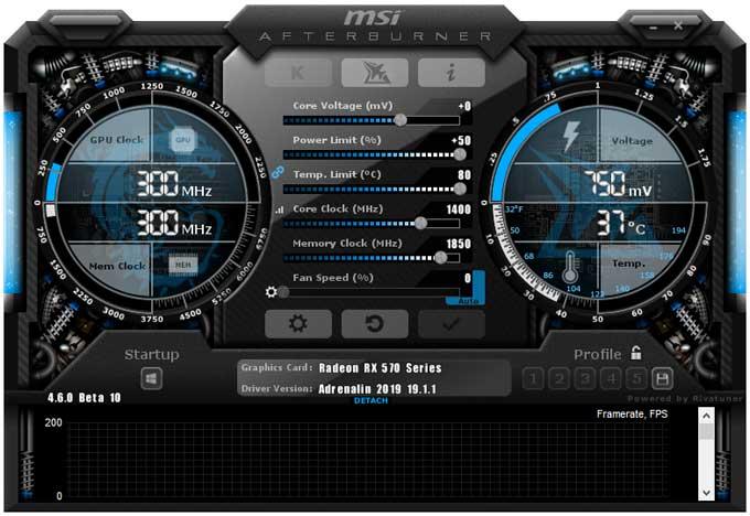 Přetaktování Sapphire Pulse RX 570 ITX 4GD5; Afterburner