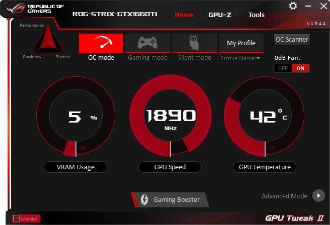 Asus Strix GeForce GTX 1660 Ti O6G Gaming GPU Tweak II OC mode