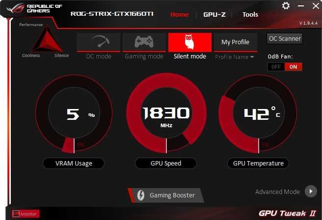 Asus Strix GeForce GTX 1660 Ti O6G Gaming GPU Tweak II Silent mode