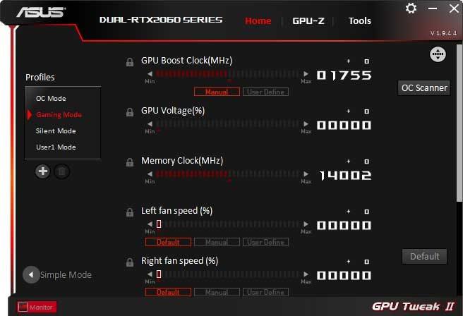 Asus Dual GeForce RTX 2060 O6G GPU Tweak II Advanced mode