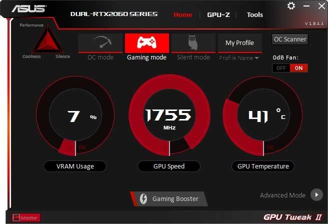 Asus Dual GeForce RTX 2060 O6G GPU Tweak II Gaming mode