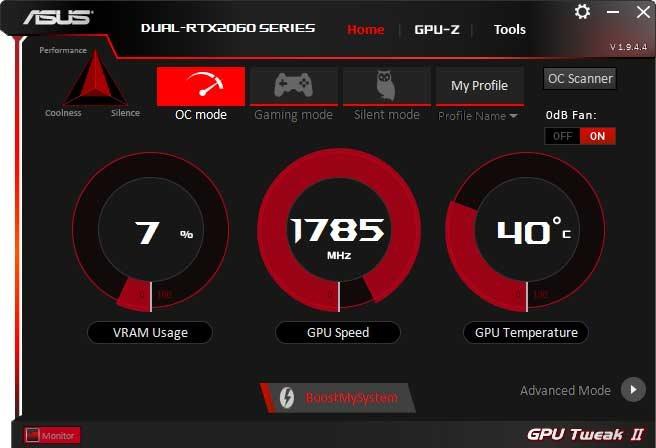 Asus Dual GeForce RTX 2060 O6G GPU Tweak II OC mode
