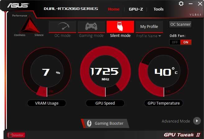 Asus Dual GeForce RTX 2060 O6G GPU Tweak II Silent mode