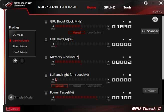 Asus Strix GTX 1650 O4G Gaming GPU Tweak II Advanced mode