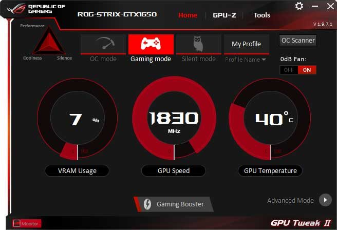 Asus Strix GTX 1650 O4G Gaming GPU Tweak II Gaming mode