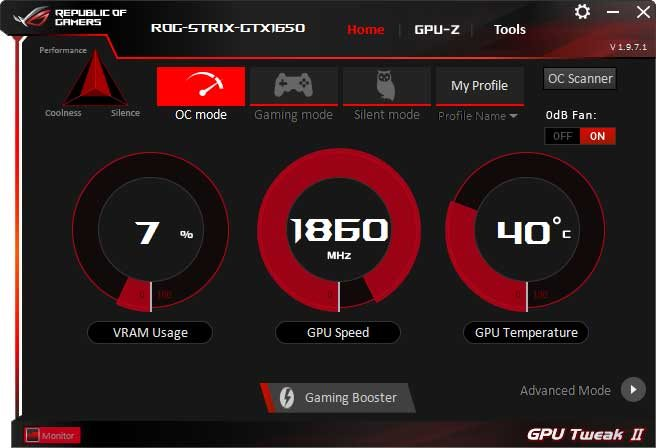 Asus Strix GTX 1650 O4G Gaming GPU Tweak II OC mode