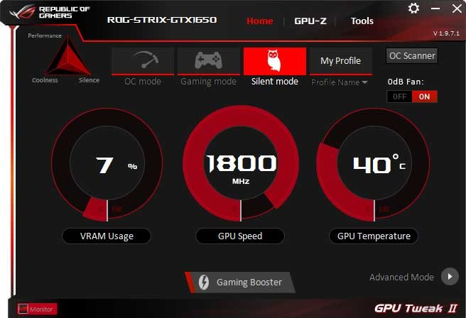 Asus Strix GTX 1650 O4G Gaming GPU Tweak II Silent mode