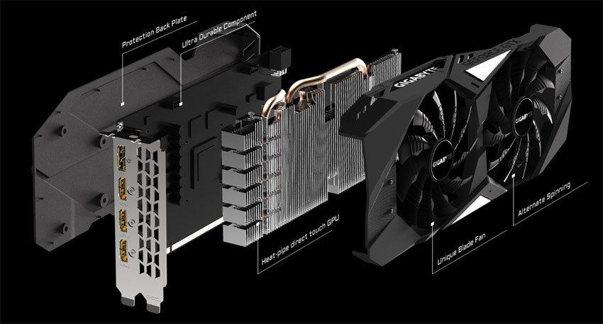 Gigabyte GTX 1650 Gaming OC 4G; systém chlazení