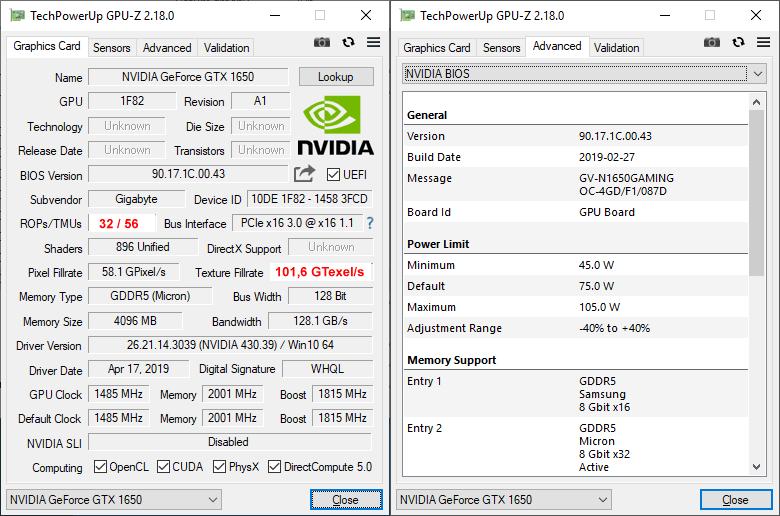 Gigabyte GTX 1650 Gaming OC 4G GPUZ