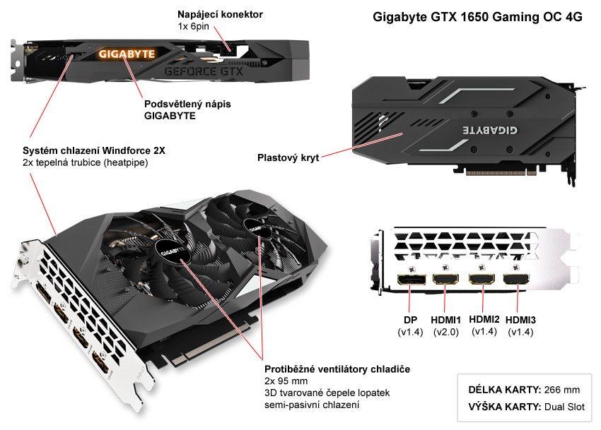 Popis grafické karty Gigabyte GTX 1650 Gaming OC 4G