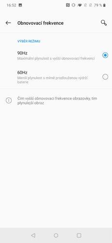 OnePlus 7 Pro Obnovovací frekvence