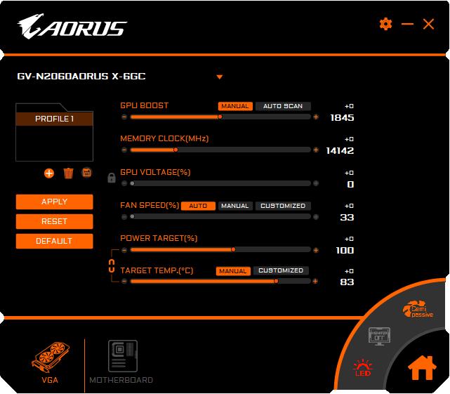 Gigabyte AORUS RTX 2060 XTREME 6G Graphics Engine Professional mode