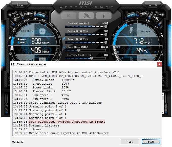 Přetaktování MSI RTX 2070 VENTUS 8G; Afterburner