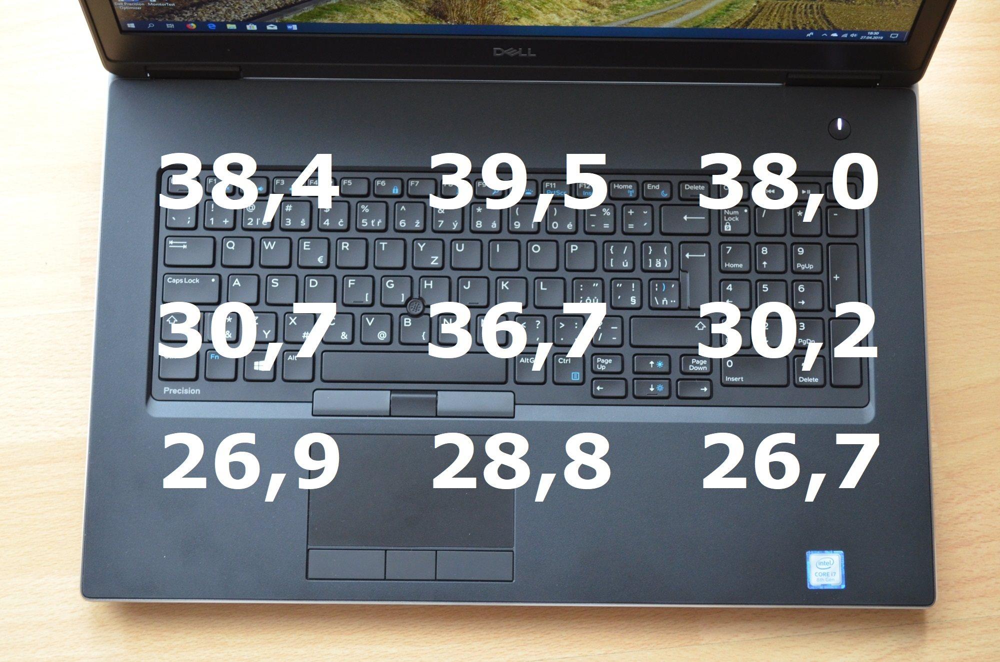 Teploty v zátěži okolo klávesnice, Dell Precision 7730 R11CM.