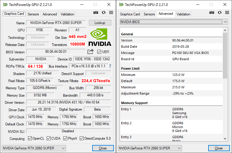 NVIDIA RTX 2060 SUPER Founders Edition GPUZ