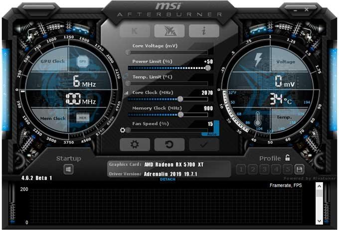 Přetaktování Sapphire RX 5700 XT 8G; Afterburner