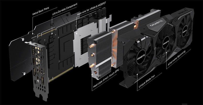 Gigabyte RTX 2070 SUPER Gaming OC; systém chlazení