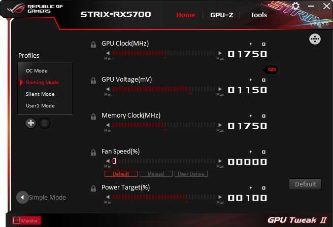 Asus Strix RX 5700 O8G Gaming GPU Tweak II Advanced mode