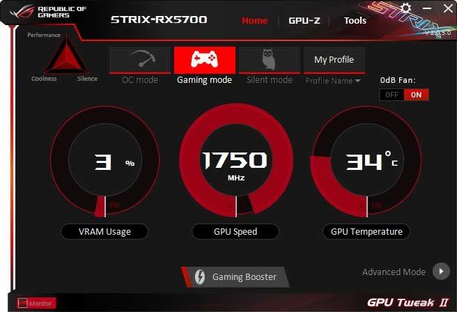 Asus Strix RX 5700 O8G Gaming GPU Tweak II Gaming mode