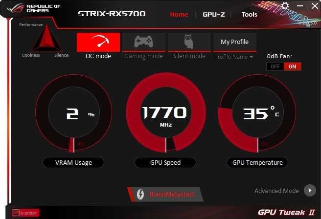 Asus Strix RX 5700 O8G Gaming GPU Tweak II OC mode